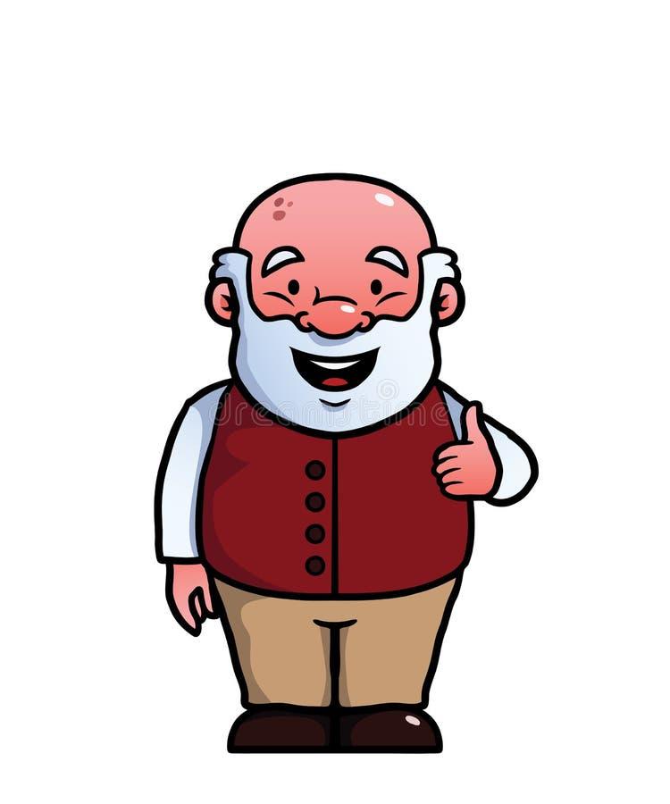 Viejo hombre que da los pulgares para arriba stock de ilustración