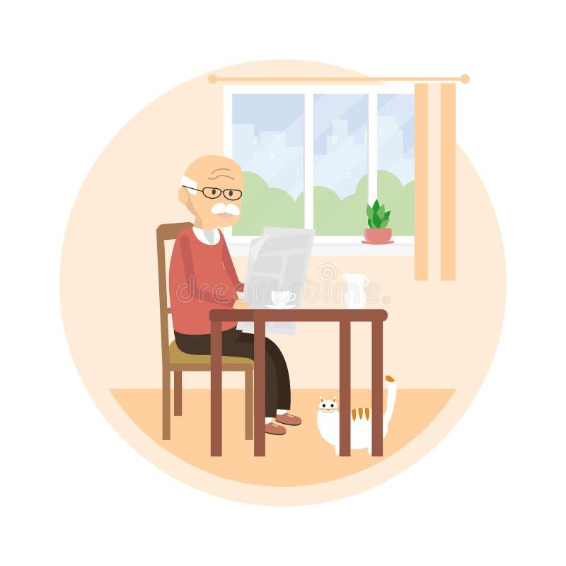 Viejo hombre que lee un periódico ilustración del vector