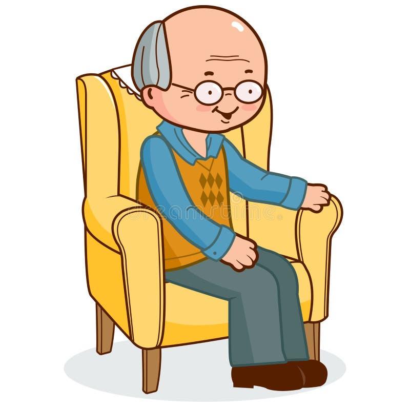Viejo hombre que se sienta en butaca