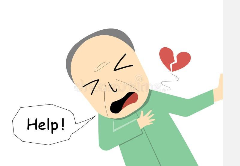 Viejo hombre que sufre de ataque del corazón en arte del vector ilustración del vector