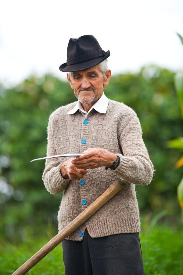 Viejo hombre rural que usa la guadaña foto de archivo