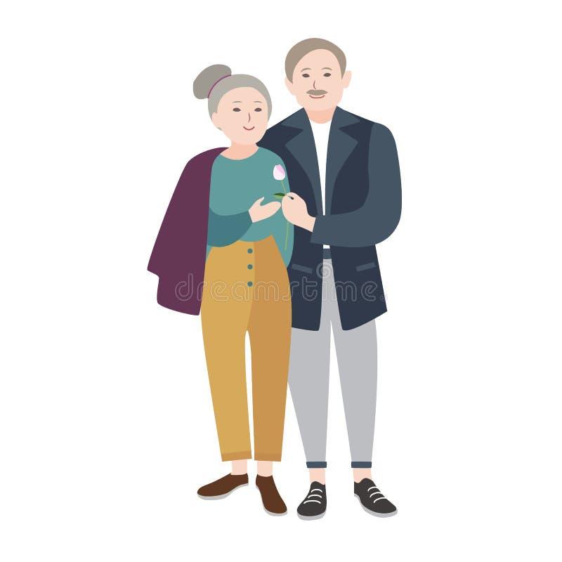 Viejo hombre sonriente que se coloca al lado de mujer mayor, con gusto abarcamiento su y donante de la flor Pares mayores románti ilustración del vector