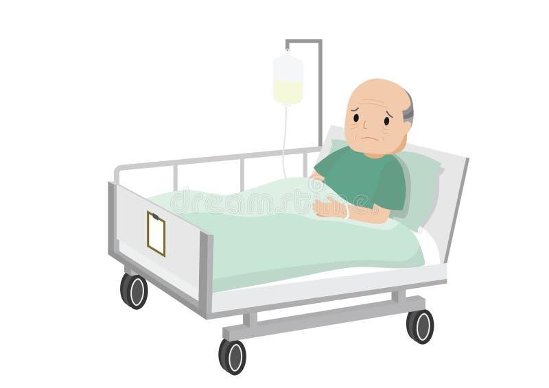 Viejo hombre triste que miente en una cama de hospital libre illustration