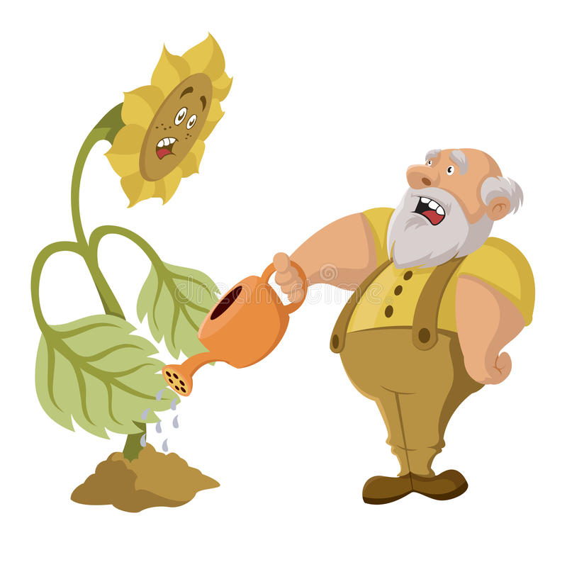 Viejo hombre y OGM ilustración del vector