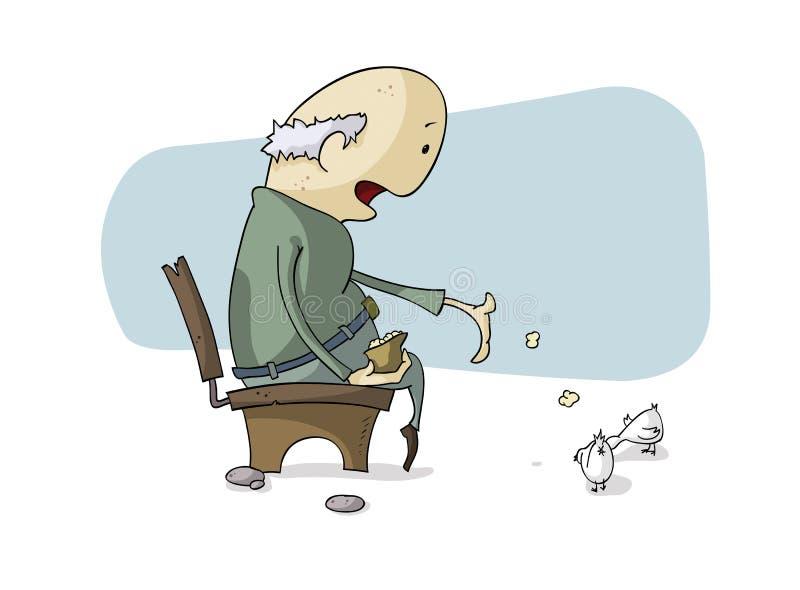 Viejo hombre y palomas libre illustration