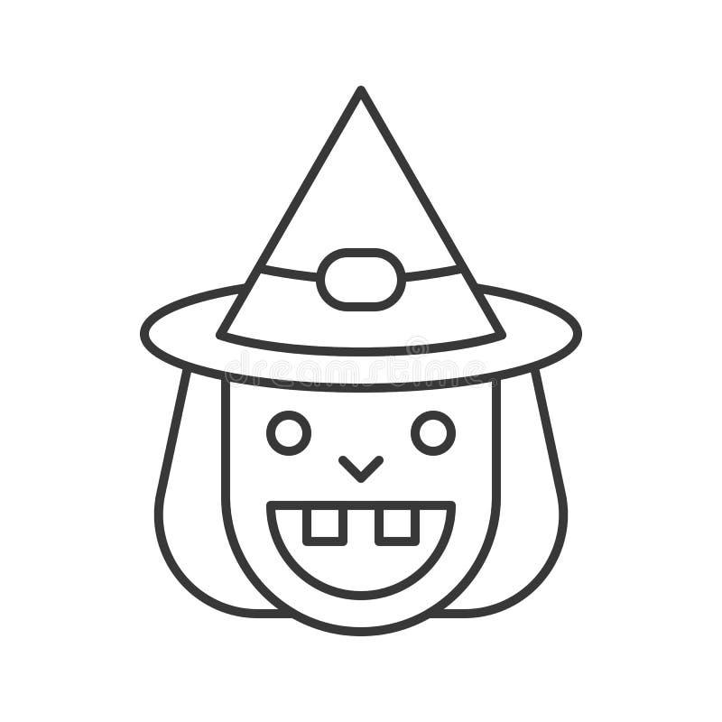 Viejo icono de la bruja de la sonrisa y del sombrero de la bruja, carácter de Halloween, editabl stock de ilustración