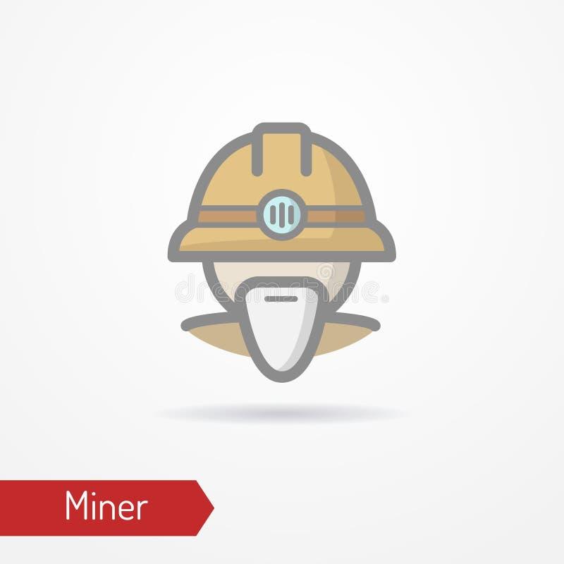 Viejo icono de la cara del minero ilustración del vector
