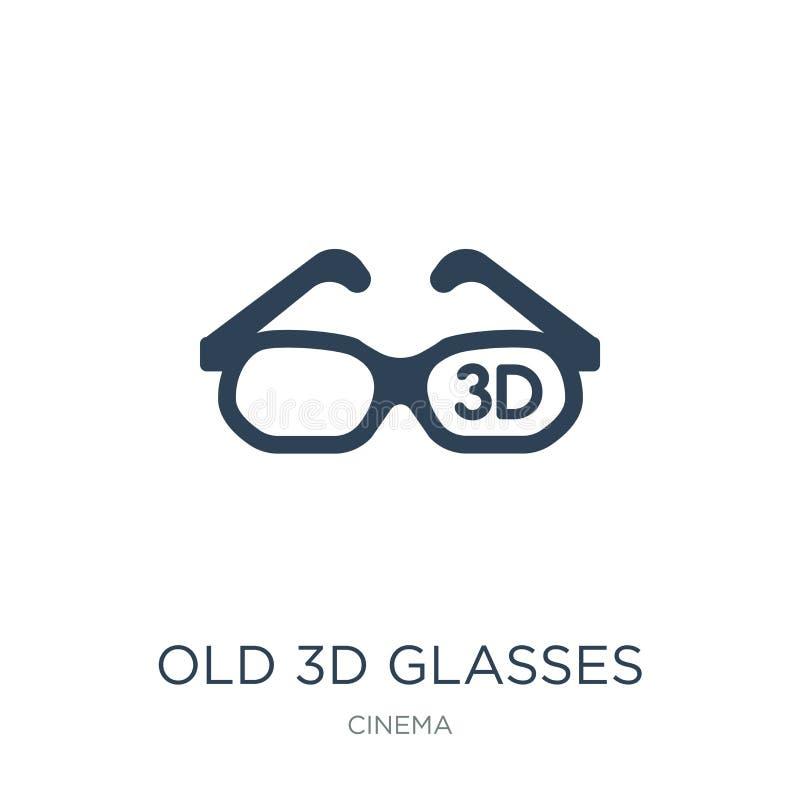 viejo icono de los vidrios 3d en estilo de moda del diseño viejo icono de los vidrios 3d aislado en el fondo blanco viejo icono d stock de ilustración