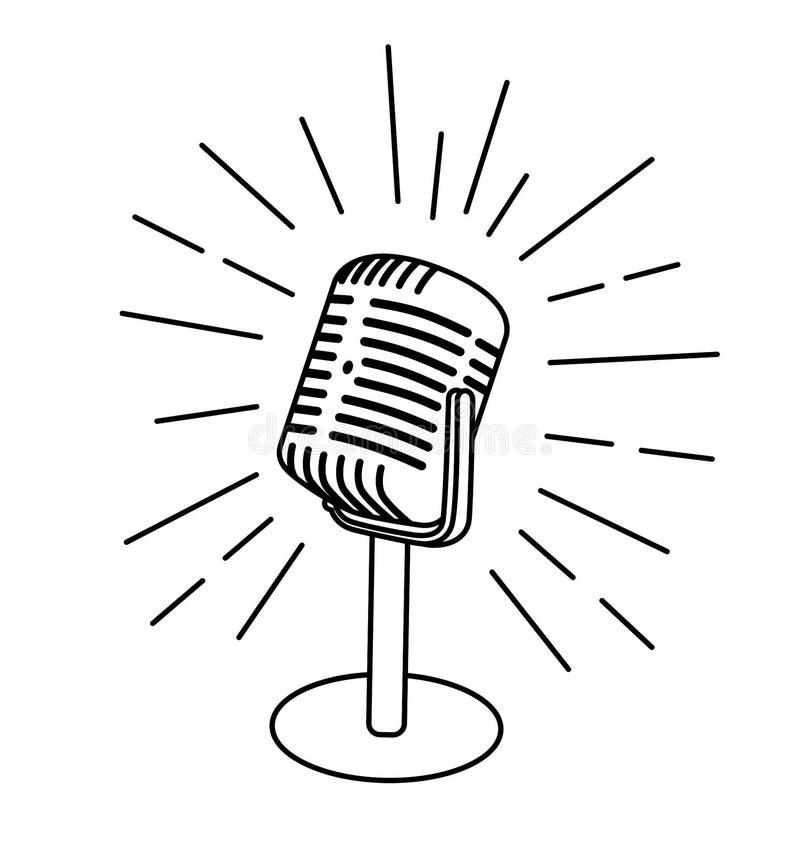 Viejo icono del micrófono del vintage aislado en el fondo blanco Diseñe el elemento para el logotipo, cartel, emblema, muestra Il stock de ilustración
