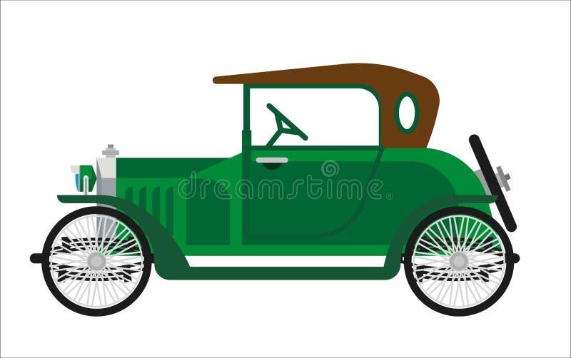 Viejo icono plano del transporte del verde del coche o del colector del vintage del vector auto retro del vehículo ilustración del vector