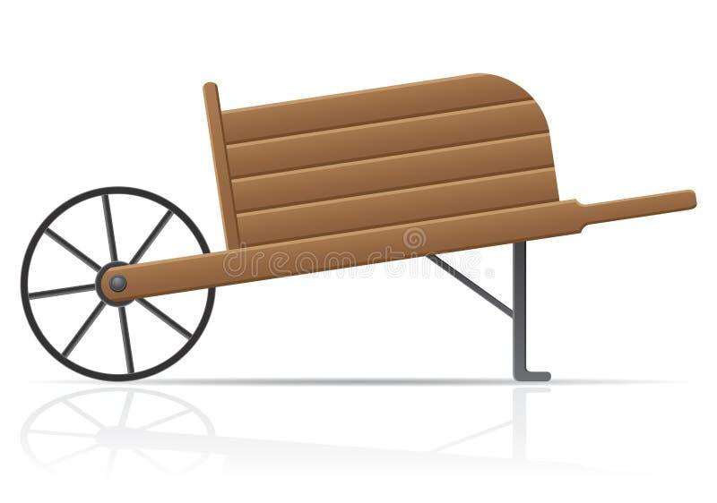 Viejo illustr retro de madera del vector de la carretilla del jardín stock de ilustración