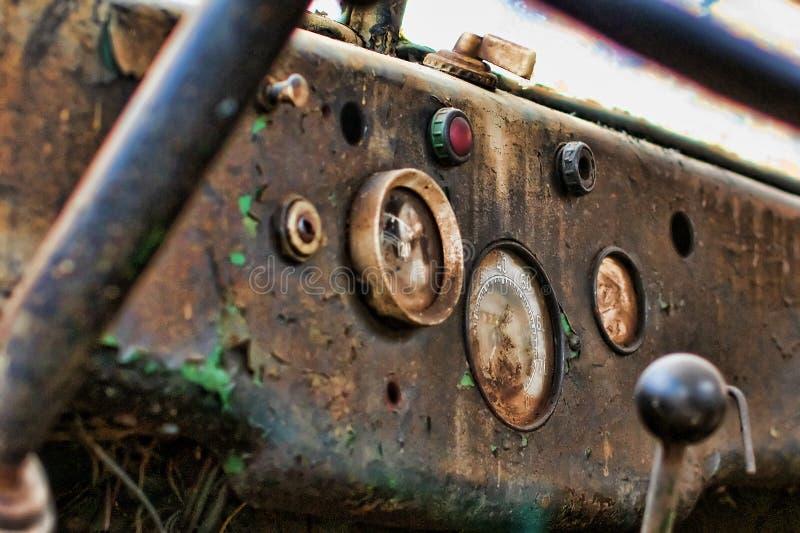Viejo interior del carro foto de archivo libre de regalías