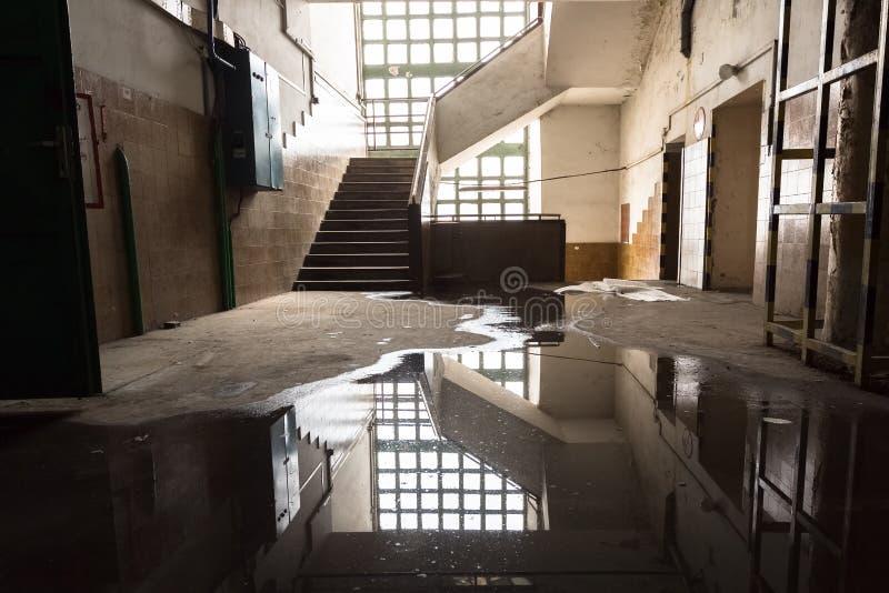 Viejo interior del edificio industrial, ventanas, escaleras fotografía de archivo libre de regalías
