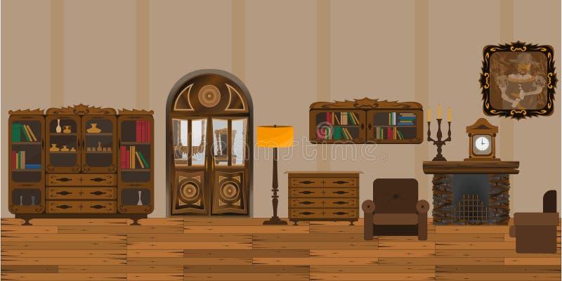 Viejo interior ilustración del vector