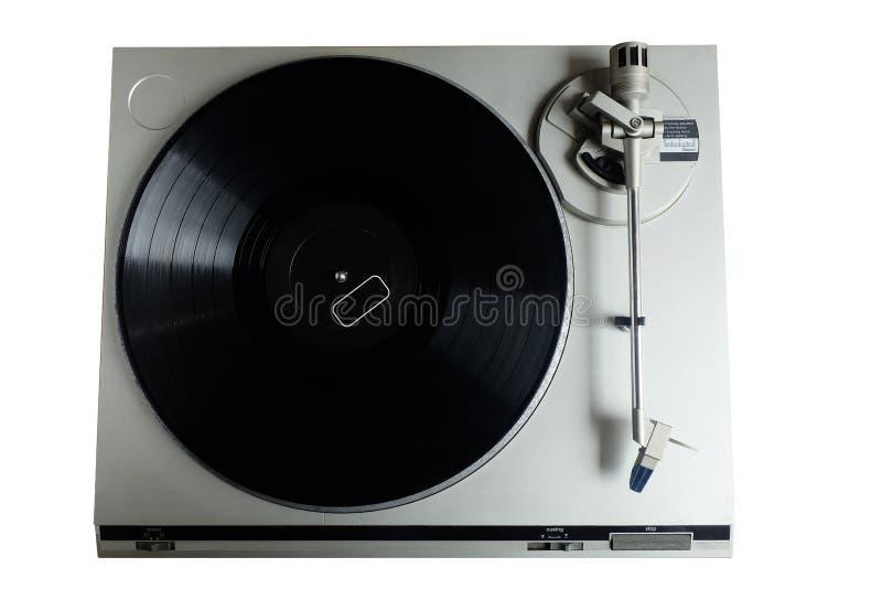 Viejo jugador de disco de vinilo retro Placa giratoria en el fondo blanco fotografía de archivo libre de regalías