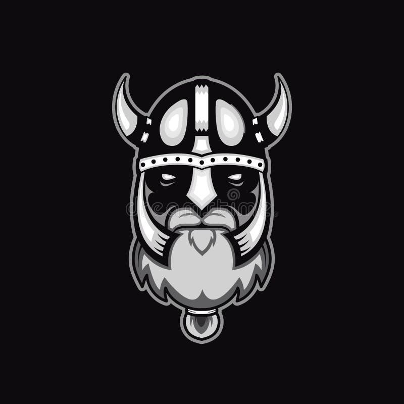 Viejo logotipo barbudo del guerrero de vikingo del vector, plantilla de la mascota vikingo dirige, opinión del perfil, enojada, e stock de ilustración