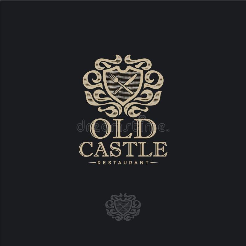 Viejo logotipo del castillo Emblema del restaurante Blasón heráldico, escudo de armas del vintage con un cuchillo y bifurcación e ilustración del vector