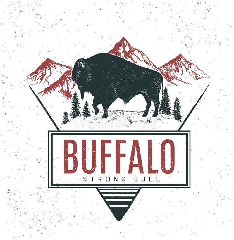 Viejo logotipo retro con el búfalo del toro ilustración del vector