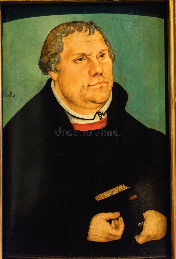 Viejo Luther Portrait Painting Luther y x27; casa Lutherstadt Wittenbe de s foto de archivo libre de regalías