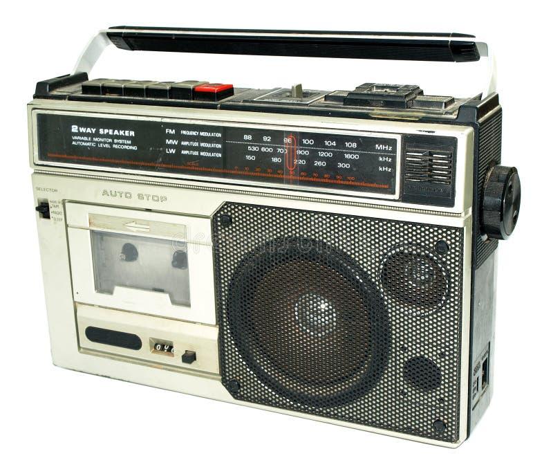 Viejo magnetófono sucio del estilo de los años 80 fotografía de archivo