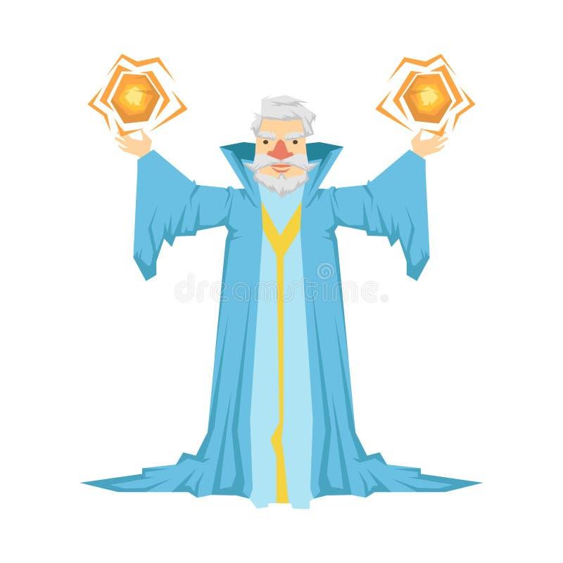 Viejo mago barbudo en un traje azul que sostiene dos bolas mágicas en sus manos Ejemplo colorido del carácter del cuento de hadas stock de ilustración