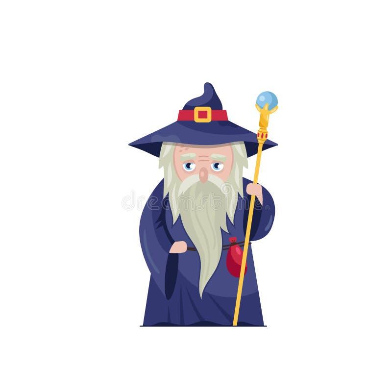 Viejo mago con el personal mágico ilustración del vector