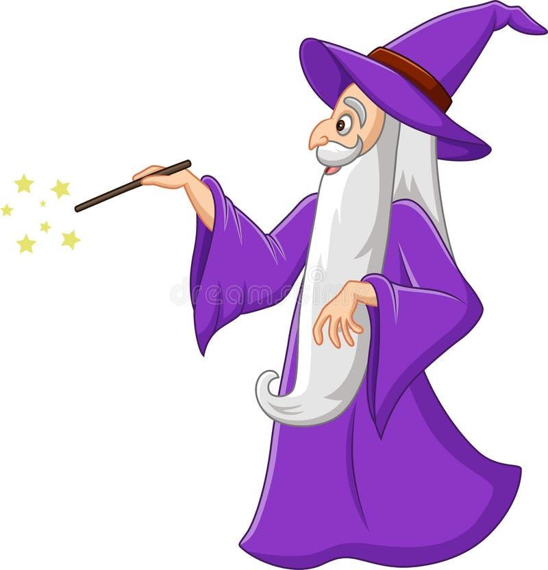 Viejo mago de la historieta con la vara mágica stock de ilustración