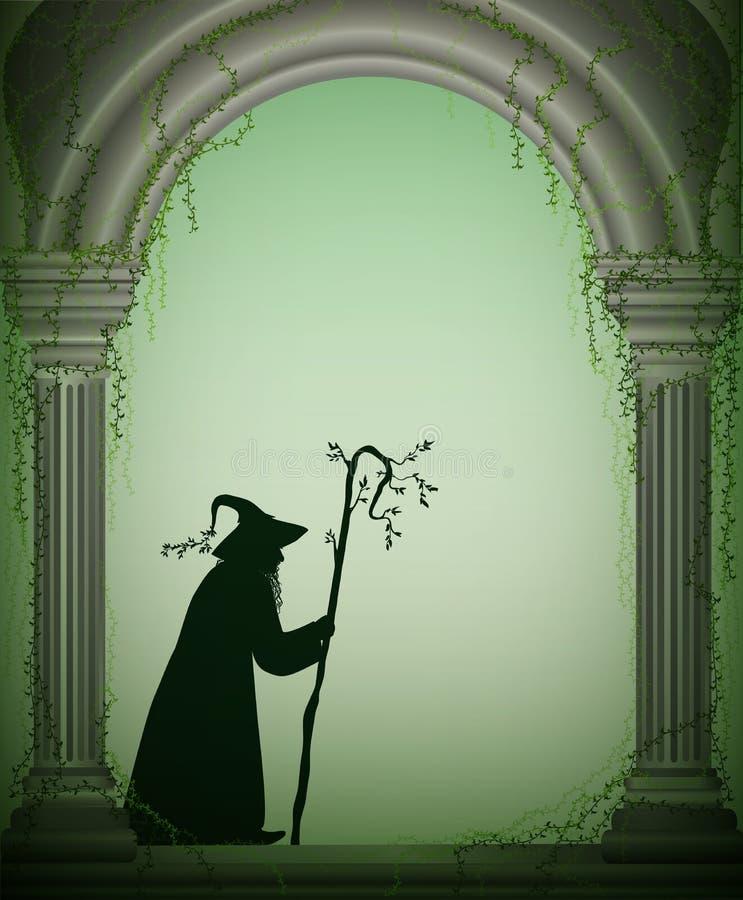 Viejo mago en el arco del jardín del castillo, carácter de Halloween, hechicero del bosque, carácter del cuento de hadas, ilustración del vector