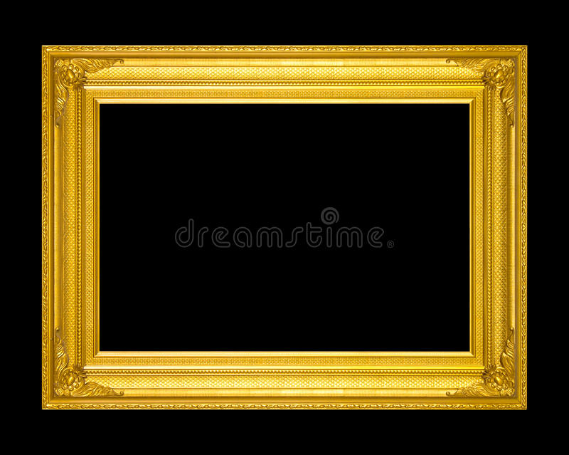 Viejo marco antiguo del oro aislado en un fondo negro imagenes de archivo