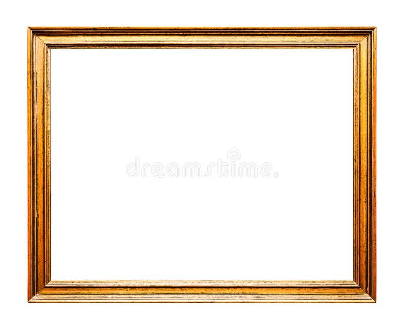 Viejo marco de oro, horizontal, aislado en blanco imagen de archivo
