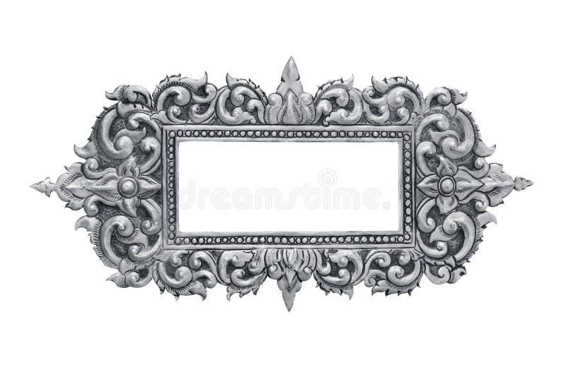 Viejo marco de plata decorativo - hecho a mano, grabado - aislado en w imagen de archivo