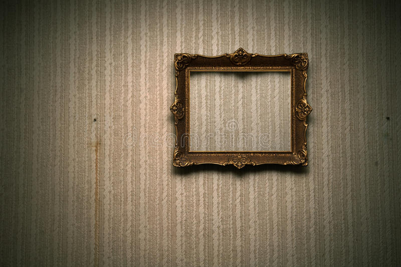 Viejo marco en la pared retra imágenes de archivo libres de regalías