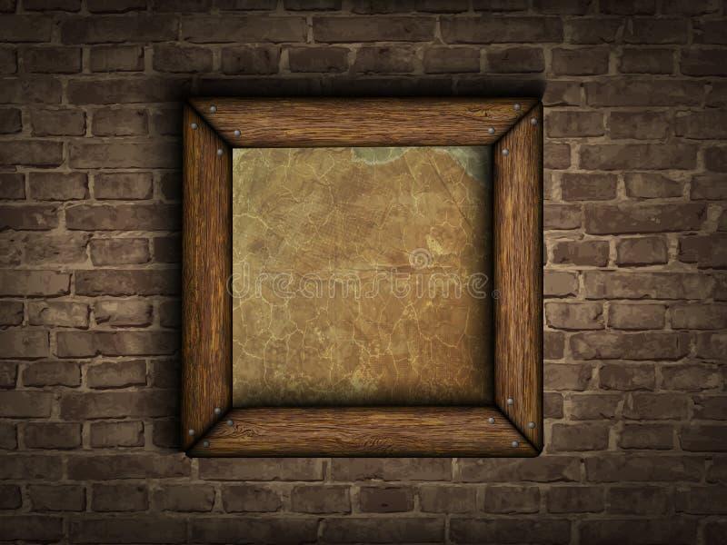 Viejo marco en una pared de ladrillo ilustración del vector
