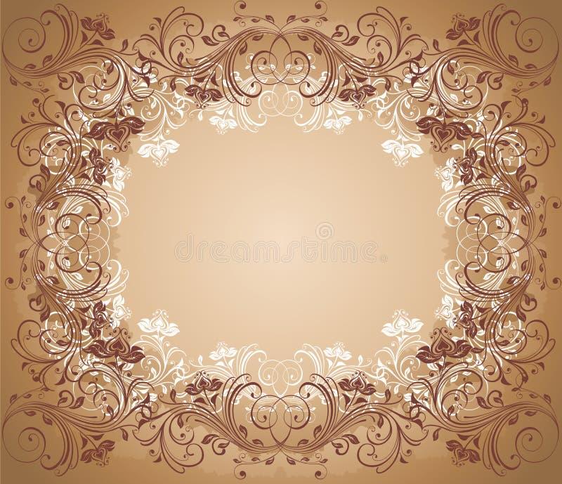 Viejo marco floral ilustración del vector