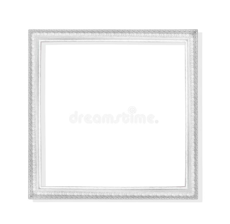 Viejo marco gris o del metal plateado con la talla de los modelos aislados en el fondo blanco con la trayectoria de recortes fotografía de archivo libre de regalías