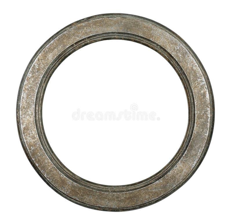 Viejo marco metálico oval fotos de archivo