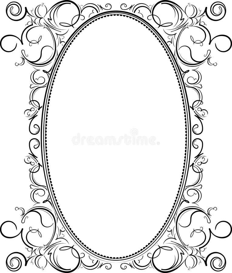 Viejo marco oval negro con un espacio en blanco para el texto Tarjeta, invitación o plantilla retra de felicitación del vintage p libre illustration