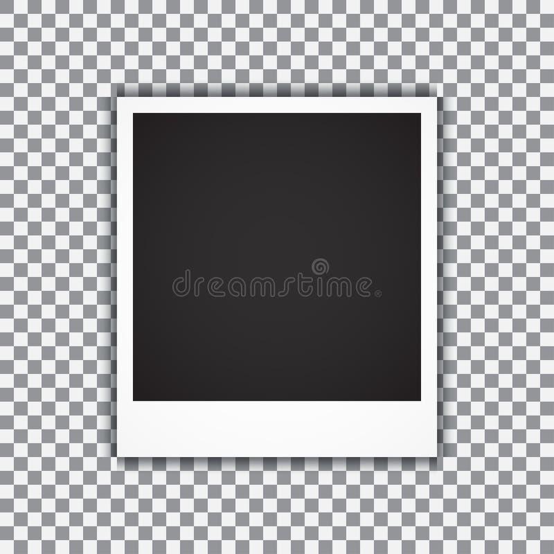Viejo marco realista vacío de la foto con la sombra transparente en fondo del blanco del negro de la tela escocesa Ilustración de libre illustration