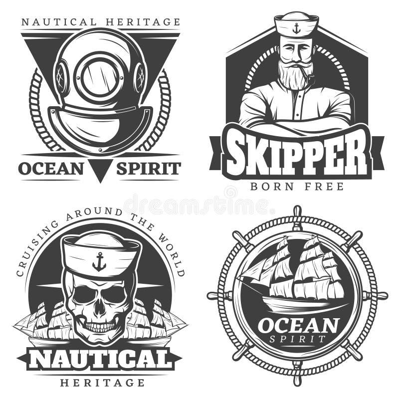 Viejo marinero Naval Label Set del tatuaje libre illustration