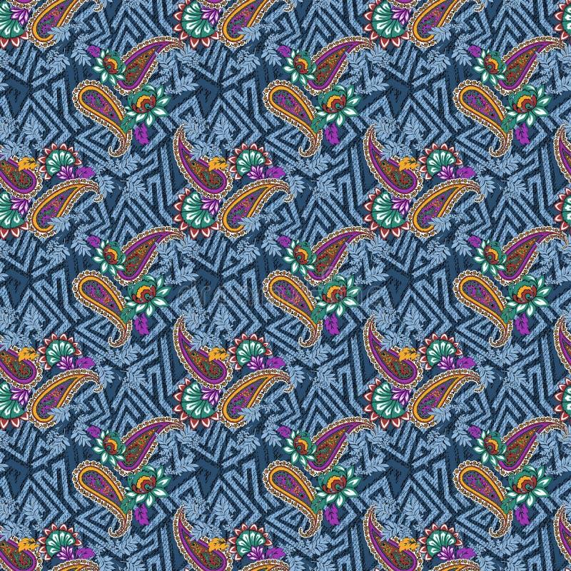 Viejo modelo inconsútil del batik del ornamento en la composición única imagen de archivo