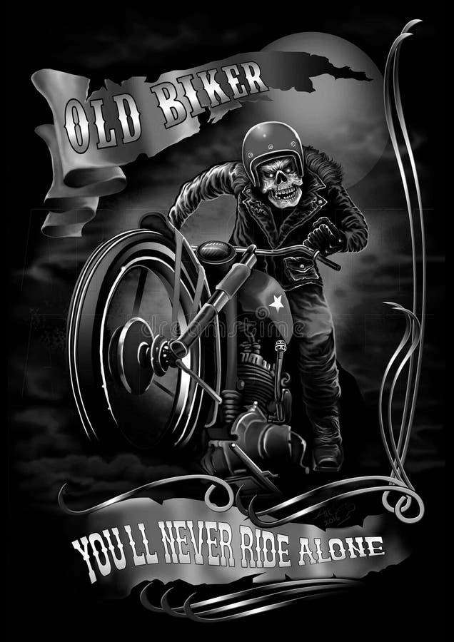 Viejo motorista ilustración del vector