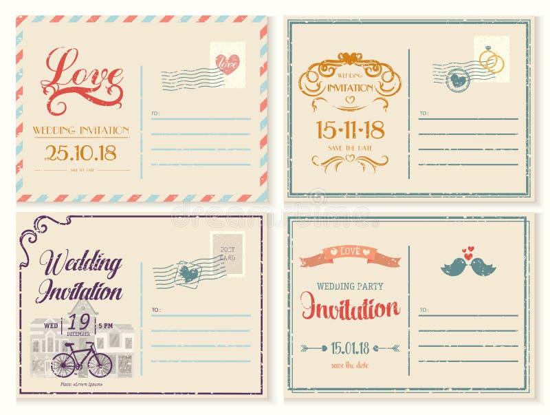 Viejo o retro, tarjeta vacía de la invitación de la boda del vintage ilustración del vector