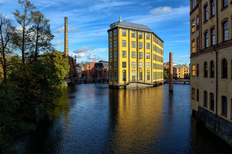 Viejo paisaje industrial en Norrkoping fotografía de archivo