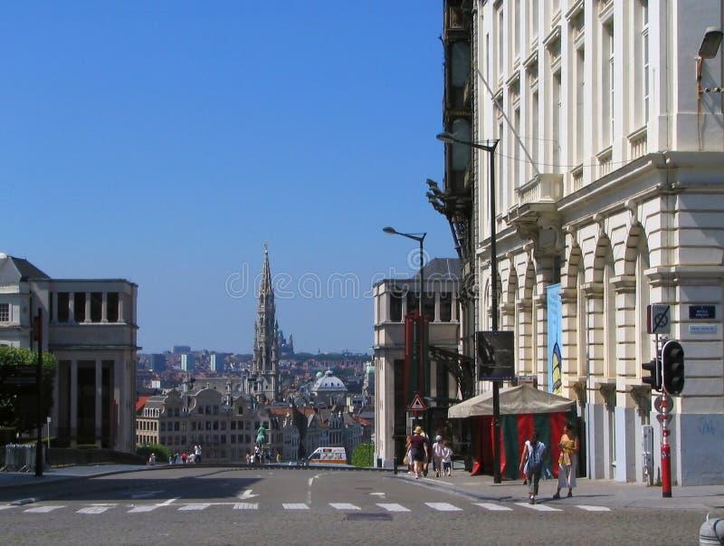 Viejo paisaje urbano céntrico de Bruselas imágenes de archivo libres de regalías