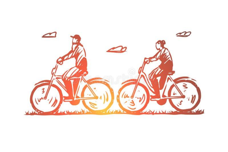 Viejo, pares, bicicleta, feliz, concepto del deporte Vector aislado dibujado mano ilustración del vector