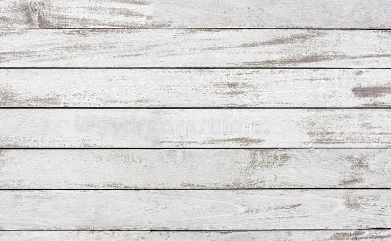 Viejo pele apagado el fondo blanco de la textura de la superficie de la pintura del tablón de madera, n imagen de archivo libre de regalías