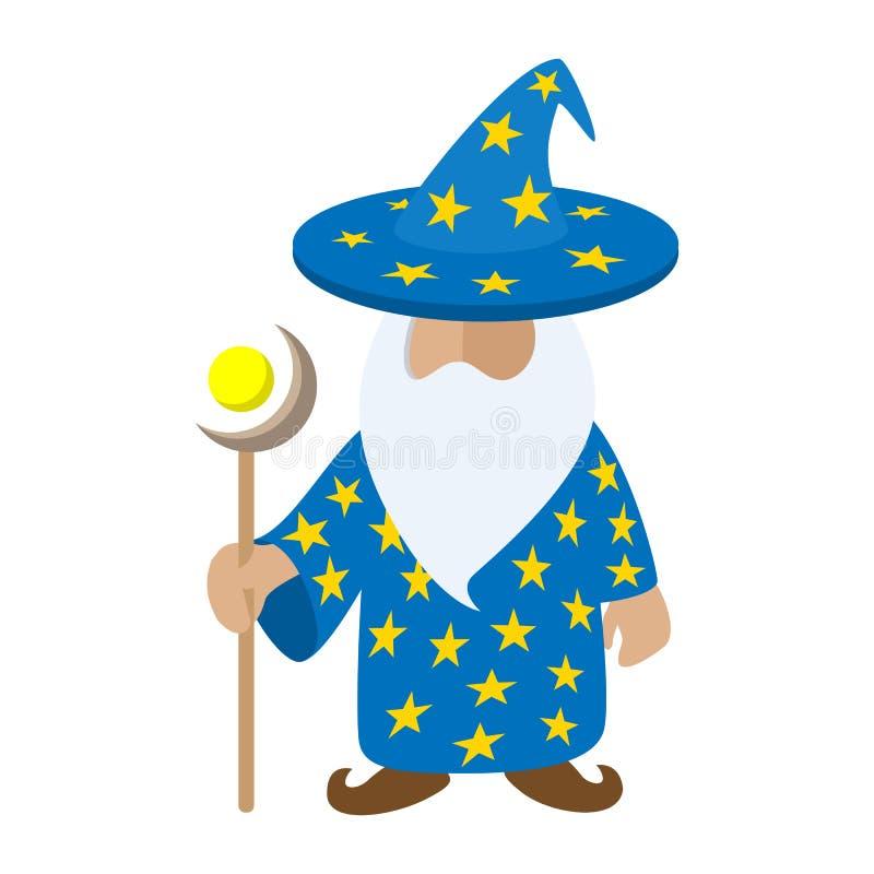 Viejo personaje de dibujos animados del mago stock de ilustración