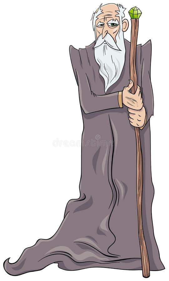 Viejo personaje de dibujos animados del mago libre illustration