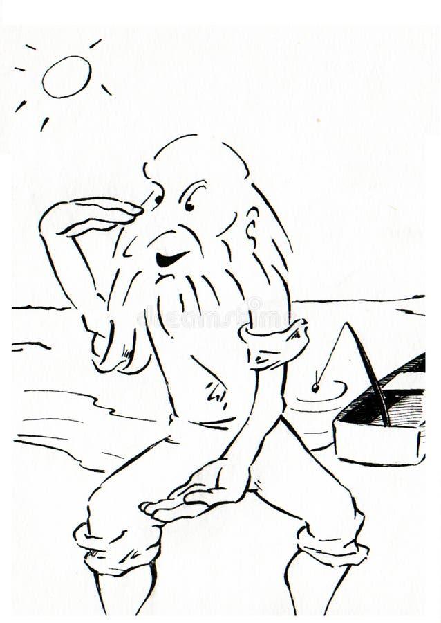 Viejo pescador stock de ilustración