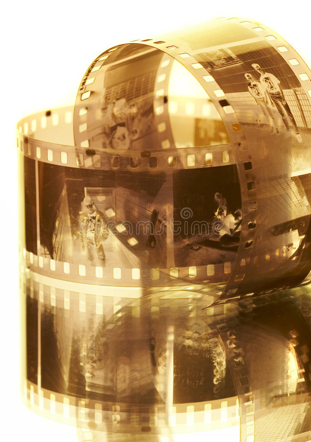Viejo photofilm negro-blanco. 35m m negativos. imagen de archivo
